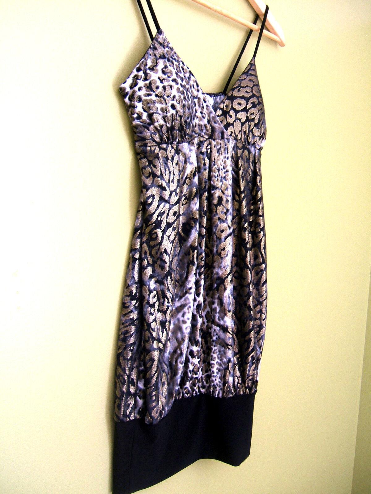 NWT Hazel Designer Sexy Leopard Gold Shimmer schwarz Weiß Cheetah Club Top S