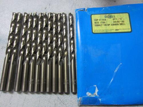 """11 GREENFIELD 17//64/"""" HSCo Cobalt-Gold 135* Jobber Length Twist Drill Bits 311506"""