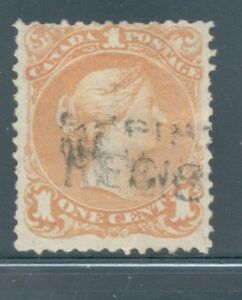 Canada Sc 23 1868 1c yellow orange large Queen Victoria stamp used Free Shipping