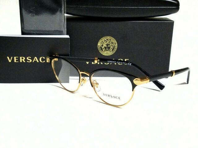 New Authentic VERSACE VE1259Q 1443 Black/Gold/Demo Lens 52/17/140 Eyeglasses