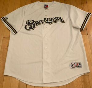 Milwaukee-Brewers-Authentic-White-Majestic-MLB-Jersey-XL-EUC-Blank