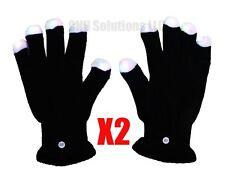 Two Pair RGB LED Black Gloves Muiticolor Colors Light Show Glove ..