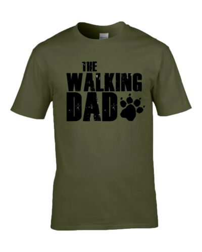 The walking dad//dog Paw print T-Shirt Top Father Dad M//F//Y sizes 7 Colours