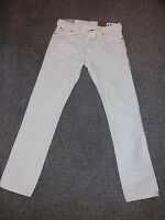 Mens Ralph Lauren Slim Straight Cream Denim Jeans W32 X L35 1057