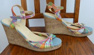 9fa7175423207 TOMMY HILFIGER Cork Wedge SANDALS Plaid Fabric Ankle Strap Peep Toe ...
