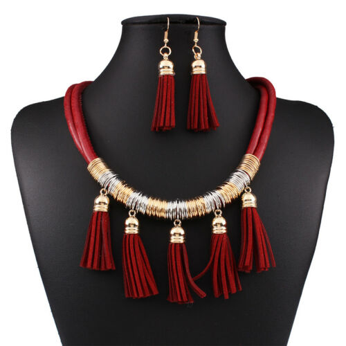 Leather Tassel Necklace and Earring Set Fashion African Jewelry Sets for Women