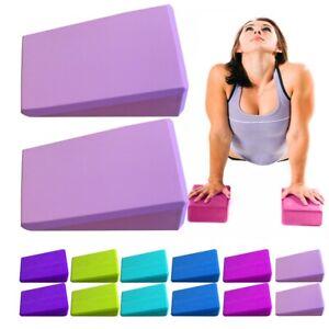 2 x Yoga Block Pilates Foam Foaming Brick Stretch Gym Fitness Exercise Bolster