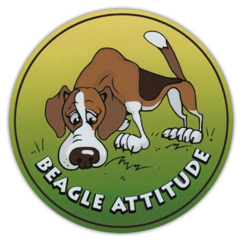 Beagle Attitude Bumper Sticker Decal Round Dog Breed Car Magnet