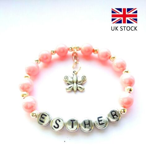 ANY NAME PERSONALISED PINK BUTTERFLY CHARM BRACELET BIRTHDAY//WEDDING//PARTY BAG