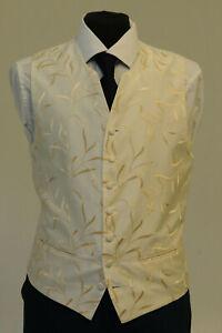 W1123. Homme/garçons Ivoire/or Tourbillon Gilet/robe/suit/fête/formel-afficher Le Titre D'origine Texture Nette