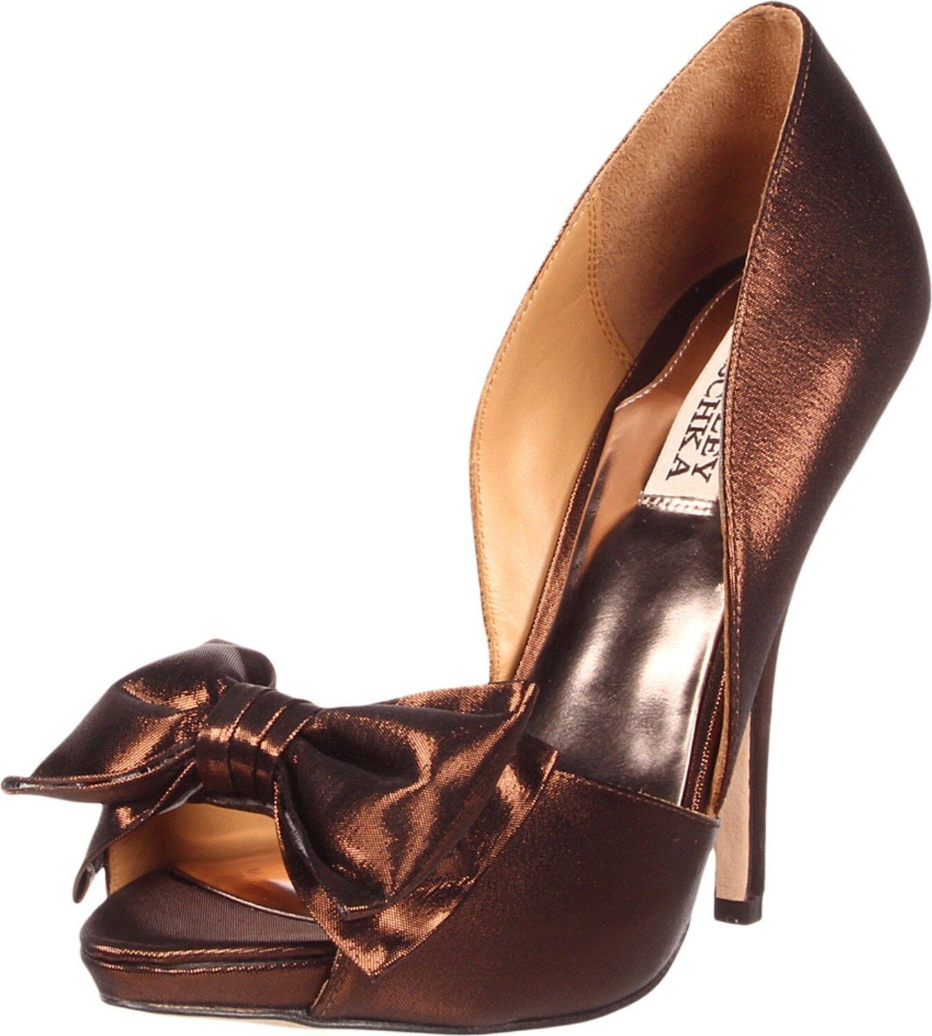 NIB Badgley Mischka Mable heels pump evening bridal BOW Scarpe bronze 8,5