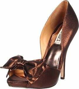 Bronze Nib Badgley Open Pumpe Mable Evening Bow 8 Heels Sko Toe 749908505339 Mischka Formal wPqdra1w