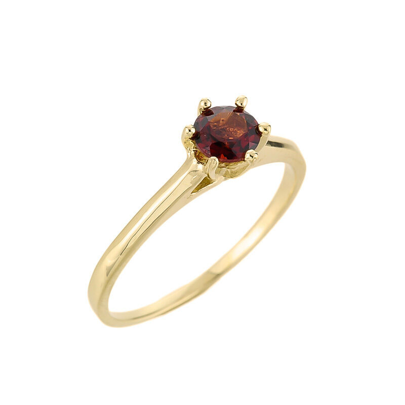 10K gold Ladies January Birthstone 0.67ct Garnet Round Cut Shape Gemstone