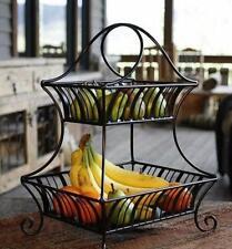 2-Tier Fruit Bowl Large Basket Wrought Iron Kitchen Centerpiece Decorative New