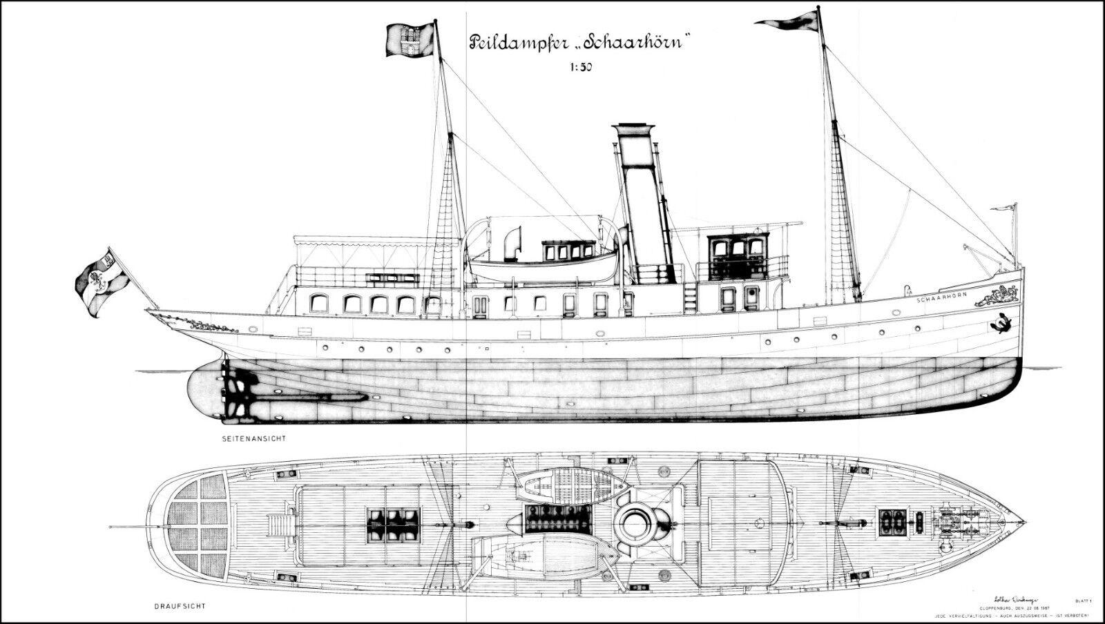 Schaarhörn, peildampfer 1907. plan de modelismo