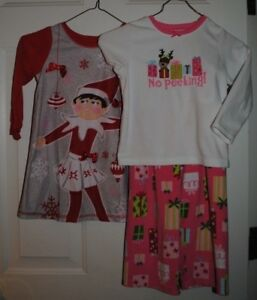 Girls Carters Christmas Pajamas And Elf On The Shelf Nightgown Size 4/4t Easy To Lubricate Baby & Toddler Clothing