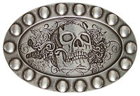 Floral Skull - Silver Plated Decorative Belt Buckle, Made In Italy