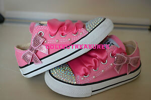 2 5 8 3 7 Infant Diamante 6 Converse 4 Pink Crystal 9 10 Personalizzato Uk Bling Bnib wqP86w