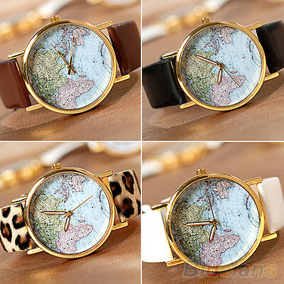 Fancy Retro Womens World Map Watch Faux Leather Alloy Analog Quartz Wrist Watch
