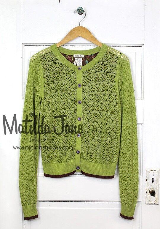 MATILDA JANE Secret Fields Green Ivy Cardigan size L Large GUC