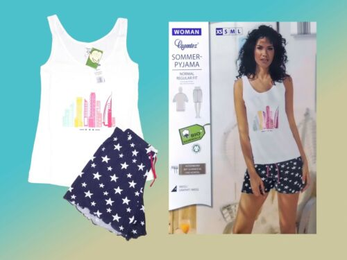 XS-S NEU Damen Pyjama Schlafanzug kurzer Shorty Modell wählbar Gr