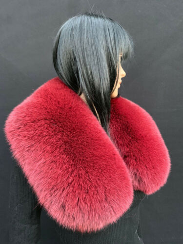 35/' Inches Fox Fur Scarf First Quality Wide Collar Burgundy Red
