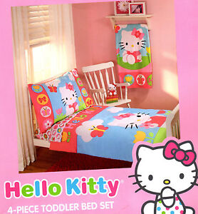 Image Is Loading Hello Kitty 4 Pc Toddler Bedding Set