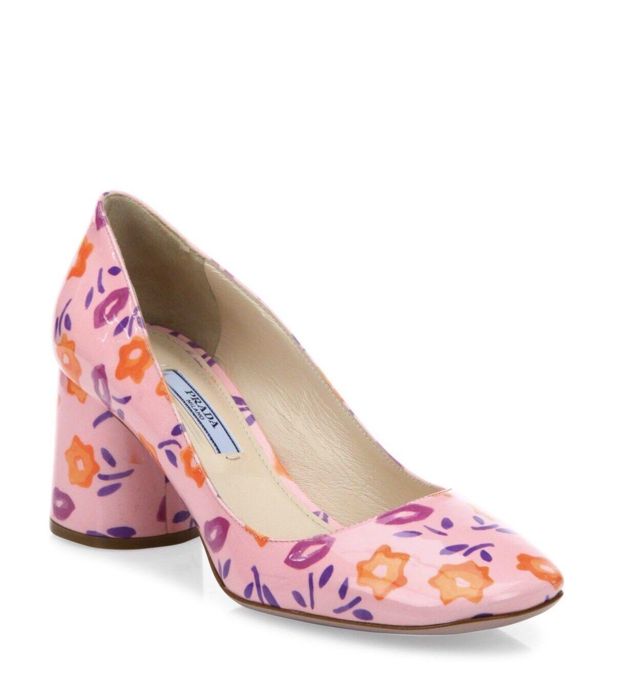 New Prada Flower-Print Pink Patent Leather Block Heel Pumps Size 40 9.5  795.00