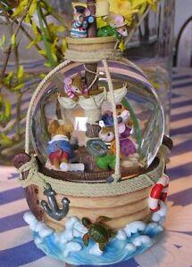 Wunderschöne Beleuchtete Spieluhr Schneekugel Mit Licht Mäuse Im Piratenschiff Spieldosen & Spieluhren