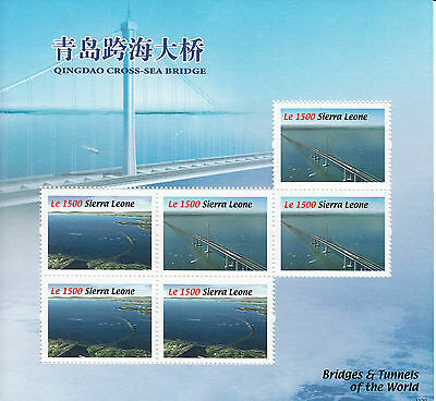Sierra Leone 2010 MNH Bridges & Tunnels World 6v Sheetlet Qingdao Cross-sea