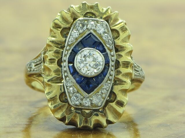 14kt 585 gold BICOLOR RING BRILLANTEN, DIAMANTEN & SAPHIREN HANDARBEIT ART-DEKO