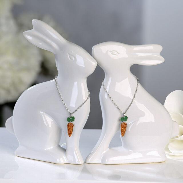 46001 Lapin Sauteur Céramique Blanc Verré Avec Orange / Vert Carottes - Collier