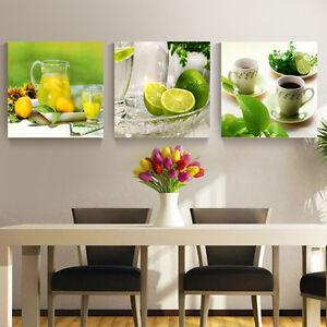 Das Bild Wird Geladen 3 Panel Moderne Gedruckte Fruechte Zitrone Malerei  Bild