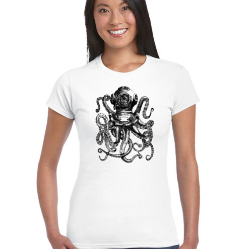 Scuba Diving Octopus Womens Deep Sea Diver T-Shirt Dive Mask Flippers Tank Kit
