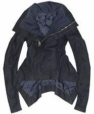 RICK OWENS Passport Blue Kangaroo Leather Biker Naska Jacket Coat US 6 IT 40