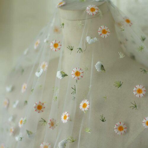 Gänseblümchen Spitze Stoff Voile Netz Bestickt Tüll Kleid Vorhang Durchsichtig