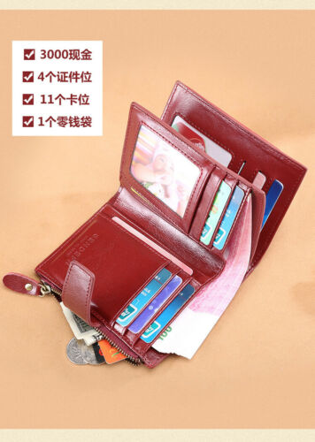 Ladies Women/'s Genuine Leather Bifold Wallet Credit Card Zipper Coin Purse QU