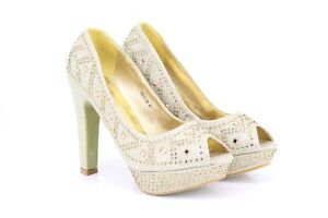 042576f29424 Image is loading Gorgeous-Gold-Diamante-Platform-Wedding-Evening-Shoes-High-