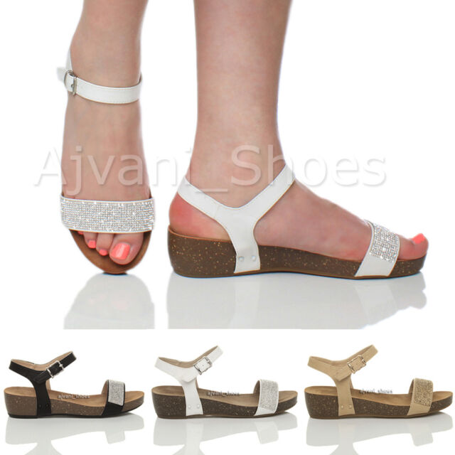 WOMENS LADIES PLATFORM MID LOW HEEL SUMMER ANKLE STRAP WEDGE SANDALS SHOES SIZE
