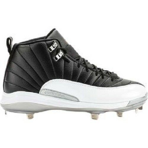 4ed36fd4bd5b SZ 9 MEN S NIKE JORDAN JORDAN JORDAN 12 RETRO METAL BASEBALL CLEATS BLACK  WHITE 625221-