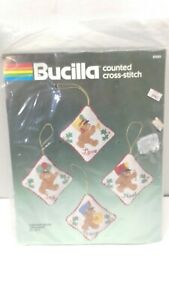 NOS Sealed Bucilla Christmas Marching Bears Ornaments Cross Stitch Kit 82285