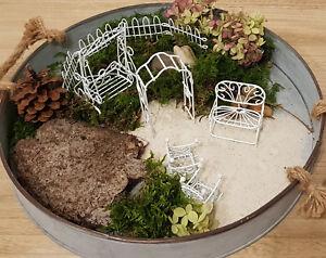 Minigarten Minimöbel Miniatur Deko Mini Garten Möbel Weiß Rosenbogen