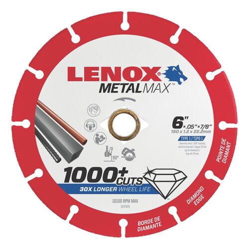 "Lenox 6/"" x 7//8/"" Hole Metal Max Diamond Edge Cut Off Wheel,1,000+cuts #1972923"