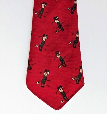 Vivax wool tie Golf by Buttons of Luton 1930s 1940s 1950s sports print golfer