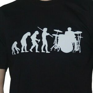 3c6033d15 Evolution Drummer Drumming T-Shirt Funny Drum Kit Mens Evolution of ...