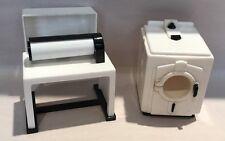 VINTAGE PLASTIC DOLLHOUSE FURNITURE IDEAL WASHING MACHINE & MANGLE IRON
