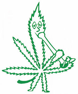 Marijuana Leaf Smoking A Water Bong Vinyl Decal Car Window