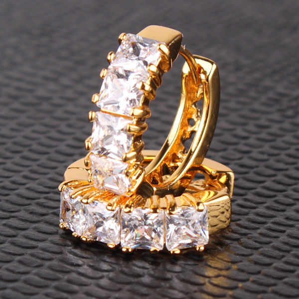 Stunning 24k yellow gold filled white sapphire Crystal lady's hoop earring