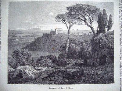 Campagna Romana Passepartout.1877 Ritorno del Gregge a casa.Veduta Pittoresca