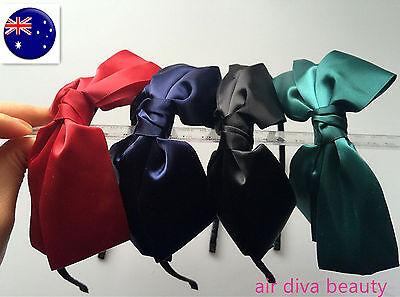 Women Girls Lady School Color Ribbon Bow elegant hair headband head band Hoop